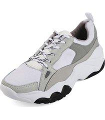 tenis blanco por gris blanco  perla gtm-5002