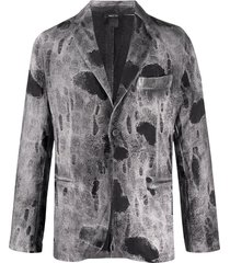 avant toi distressed fitted blazer - grey