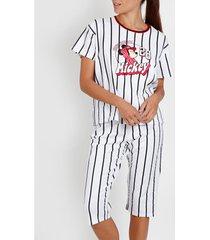 pyjama's / nachthemden admas pyjamabroek t-shirt mickey beisbol disney wit