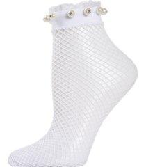 imitation pearl ruffle cuff fishnet women's anklet socks