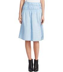 helmut lang women's ruched midi slip skirt - lark - size 2