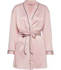 kimono hammered satin bow morgonrock rosa hunkemöller