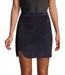 alice + olivia women's dasia suede wrap skirt - sapphire - size 12