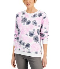 karen scott lilia printed crewneck sweatshirt, created for macy's