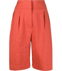 brunello cucinelli high-waisted knee shorts - orange