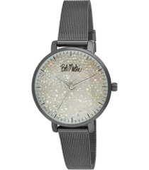 bob mackie women's black alloy bracelet glitter dial mesh watch, 32mm