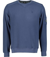lerros sweater - regular fit - blauw