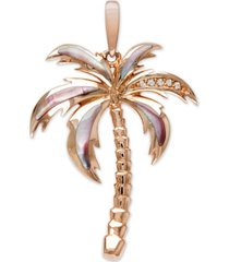 "marahlago mother-of-pearl & white sapphire (1/20 ct. t.w.) palm tree 21"" pendant necklace in rose gold-plated sterling silver"