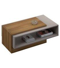 mesa de centro retangular bela madeira e off white
