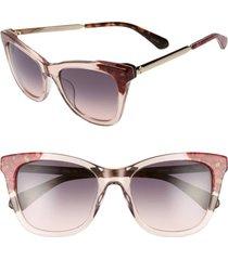 women's kate spade new york alexanes 53mm cat eye sunglasses - pink