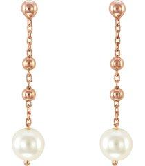 orecchini in argento 925 rosato e perle per donna