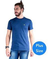 camiseta mister fish gola careca basic plus size masculina - masculino