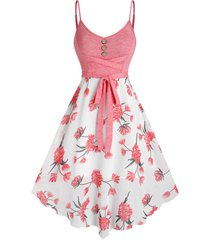 front cross floral printed spaghetti strap dress
