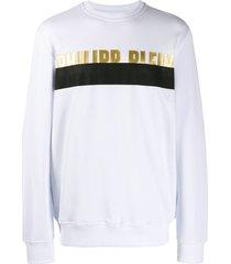philipp plein loose-fit logo sweatshirt - white