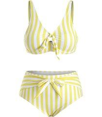 plus size striped tie front bikini swimsuit