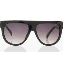 oversized flat top sunglasses & case, black