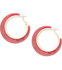 style & co gold-tone red hoop earrings, created for macy's