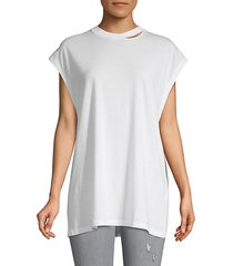 cap-sleeve cotton tee