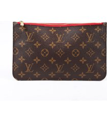 louis vuitton neverfull pouch brown monogram coated canvas brown sz: m
