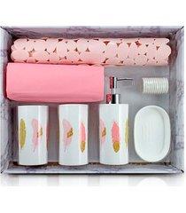 kit banheiro completo saboneteira tapete porta escovas cortina box rosa