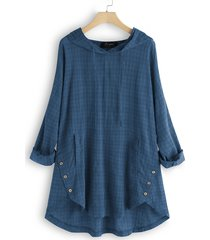 blusa con bottoni scozzesi vintage con cappuccio irregolare plus camicetta taglie comode