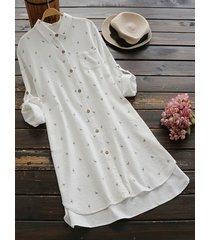 camicette lunghe stampate da risvolto vintage per donna