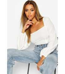 woven square neck oversized sleeve top, white