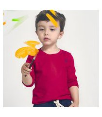 camiseta menino manga longa básica vermelha digi