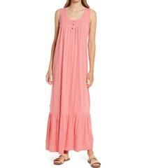 women's caslon henley tank maxi dress, size xx-small - coral