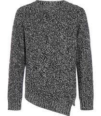 alexander mcqueen asymmetric cable-knit wool and cashmere sweater