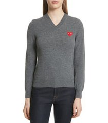women's comme des garcons play wool v-neck sweater