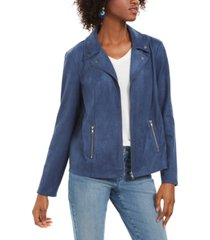 style & co faux-suede moto jacket, created for macy's