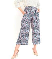 pantalón tipo cullote, tiro alto, bolsillos laterales. estampado multicolor color-multicolor-talla-6