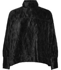 pleated satin blouse lange mouwen zwart ganni