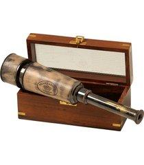 telescópio decorativo de bronze com caixa de madeira e vidro rustic