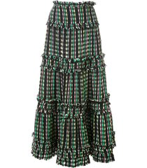 proenza schouler textured tweed tiered skirt - black