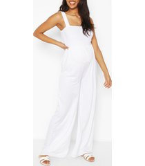 zwangerschaps geplooide wide leg jumpsuit, white