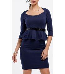 women's polyester solid color belt beam waist packet buttock flounces stylish peplum dress