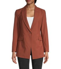 theory women's peak lapel wool-blend blazer - brandy - size 4