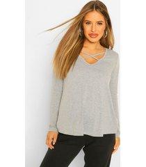 maternity long sleeved cross strap swing top, light grey