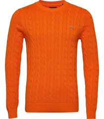 cotton cable crew stickad tröja m. rund krage orange gant