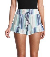 striped drawstring tassel ruffle shorts