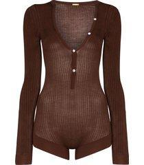 dodo bar or v-neck buttoned bodysuit - brown
