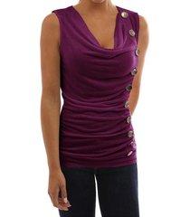zanzea elegante de las señoras sin mangas de las tapas del tanque delgado de la camisa elástico drapeado de la blusa púrpura -púrpura