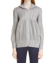 pleats please issey miyake zip front hoodie, size 4 in cool grey at nordstrom