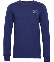 crewneck sweat with contrast loops and chest pocket sweat-shirt trui blauw scotch & soda