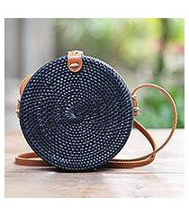 bamboo shoulder bag, 'midnight lombok circle' (indonesia)