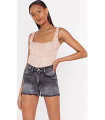 womens can't help but square neck lace bodysuit - pink