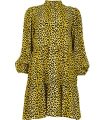 jurk met panterprint olivia  geel