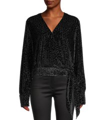 lea & viola women's tonal leopard-print top - black - size s
